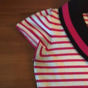 Say What? Shirts & Tops - Say What? Pink & White Short-Sleeved Sweater Shirt